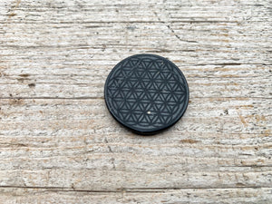 Shungite Cell Phone Plate || Engraved Flower of Life