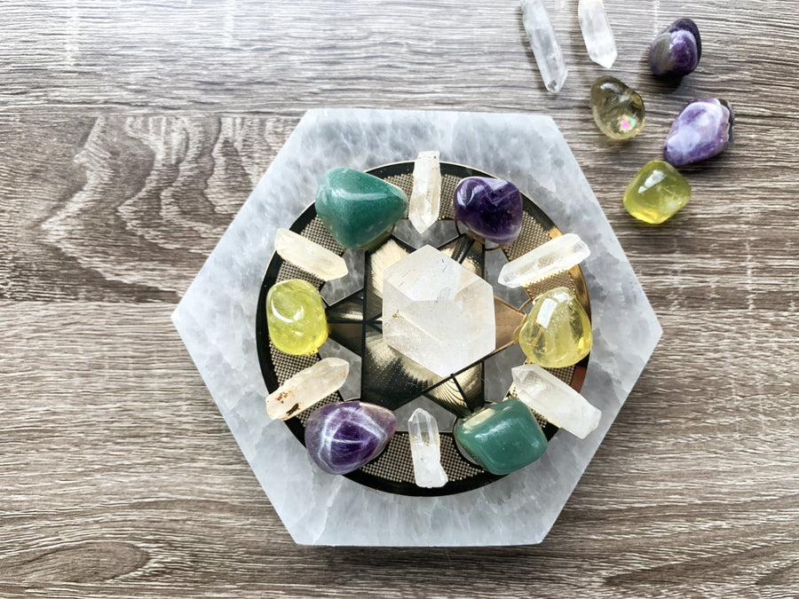 Selenite Hexagon Charging Plate
