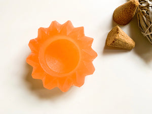 Peach Selenite Sun Candle Holder