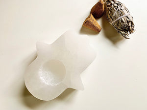 Selenite Hamsa Candle Holder