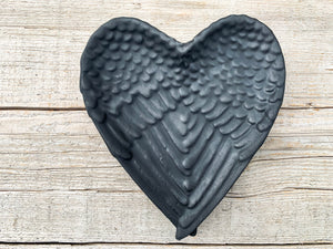 Shungite Heart Angel Wing Charging Plate