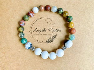 Ocean Jasper, Mother of Pearl & Orca Agate Bracelet || Reiki Infused