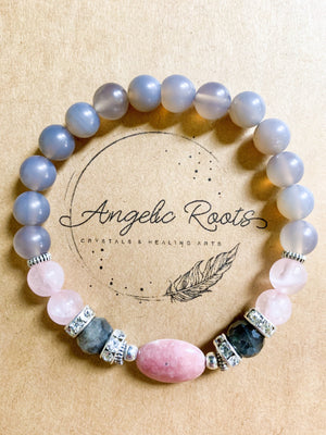 Rhodonite, Rose Quartz, Labradorite, Gray Agate Beaded Bracelet || Reiki Infused