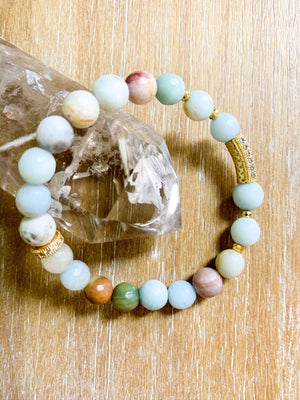 Amazonite & Rhinestone Beaded Bracelet || Reiki Infused