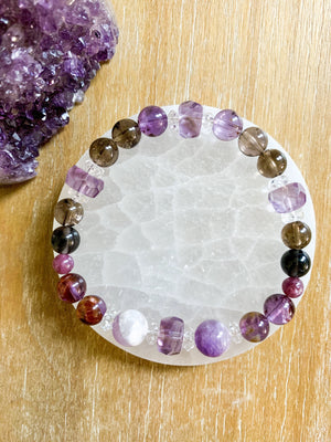 Super 7, Amethyst, Smoky Quartz, & Lepidolite Beaded Bracelet || Reiki Infused