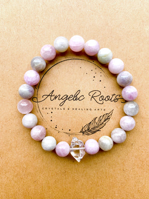 Kunzite (Multi Color) & Herkimer Diamond Beaded Bracelet || Reiki Infused