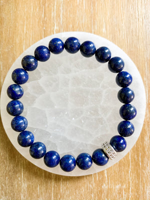 Lapis Lazuli & Micro Pave Sterling Beaded Bracelet || Reiki Infused