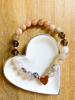 Peach Moonstone, Dragon Vein Agate, Smoky Quartz, and Copper Beaded Bracelet || Reiki Infused
