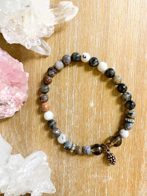 Petrified Wood & Smoky Quartz Beaded Bracelet || Reiki Infused