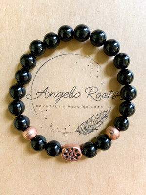 Onyx & Copper Beaded Bracelet || Reiki Infused