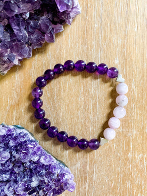 Kunzite & Amethyst Beaded Bracelet || Reiki Infused