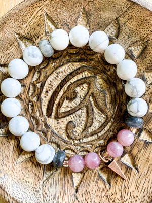 Rose Quartz, Howlite, Labradorite, and Copper Beaded Bracelet || Reiki Infused