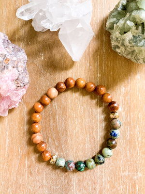Peruvian Azurite & Sandalwood Beaded Bracelet || Reiki Infused