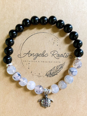 Dragon Vein Agate & Onyx Beaded Bracelet || Reiki Infused