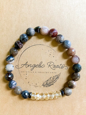 Petrified Wood & Citrine Beaded Bracelet || Reiki Infused