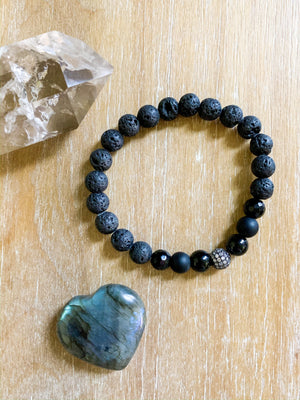 Lava, Black Onyx and Micro Pave CZ Bead Bracelet || Reiki Infused