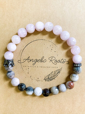 Kunzite & Petrified Wood Beaded Bracelet || Reiki Infused