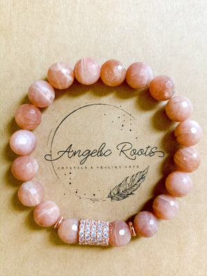 Peach Moonstone 10mm Faceted Beaded Bracelet with Rose Gold Micro Pave || Reiki Infused