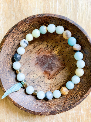 Amazonite & Angel Wing Beaded Bracelet || Reiki Infused