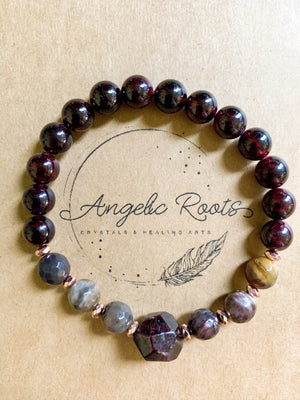 Garnet & Petrified Wood Beaded Bracelet || Reiki Infused
