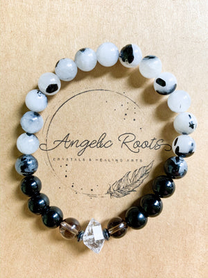 Onyx, Tourmalinated Quartz, Smoky Quartz, Herkimer Diamond Beaded Bracelet || Reiki Infused