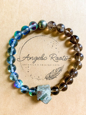 Smoky Quartz, Aura Quartz, & Pyrite Beaded Bracelet || Reiki Infused