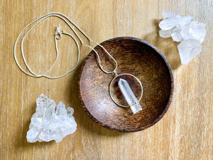 Clear Quartz Point Necklace || Hoop