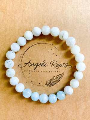 Moonstone & Aquamarine Beaded Bracelet || Reiki Infused