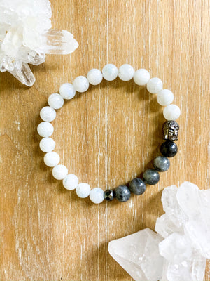 Moonstone, Labradorite, and Hematite Beaded Bracelet || Reiki Infused