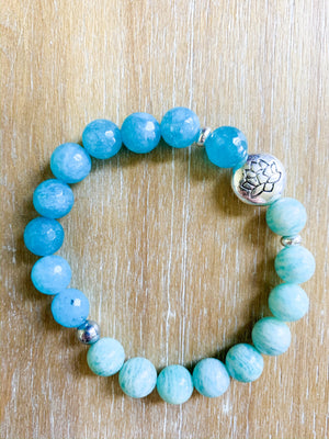 Amazonite & Blue Agate Beaded Bracelet || Reiki Infused