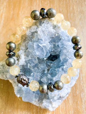 Citrine, Pyrite, & Hematite Beaded Bracelet || Reiki Infused