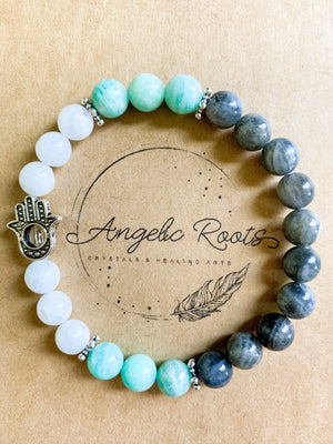 Moonstone, Labradorite, and Amazonite Beaded Bracelet with Hamsa Charm || Reiki Infused