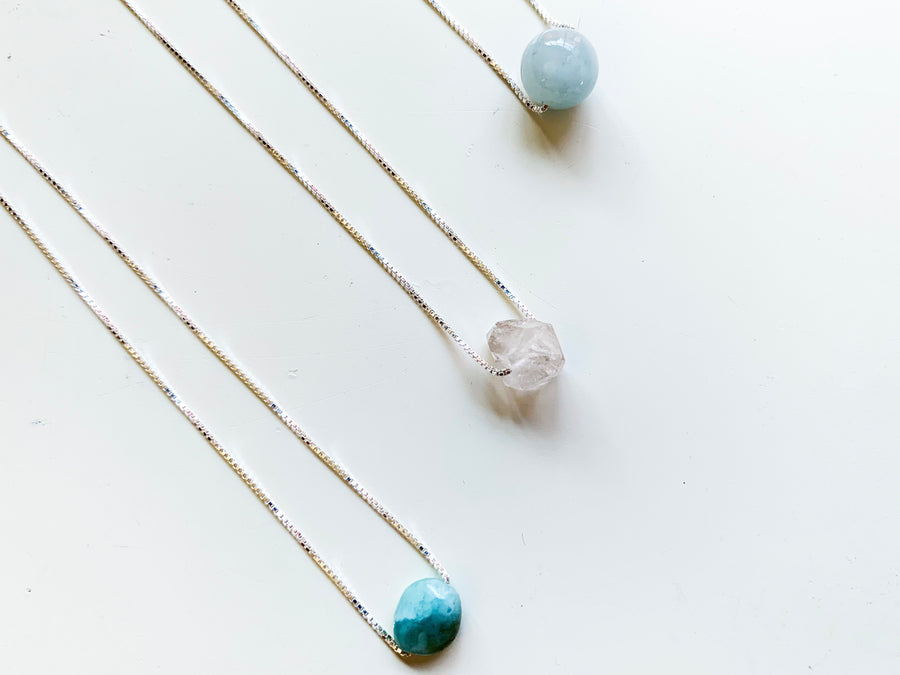 Larimar, Herkimer Diamond, Aquamarine - Dainty Sterling Silver Necklace