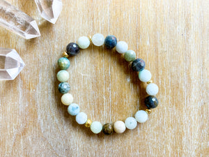 Burmese Jade & Labradorite Bracelet with Gold Accents || Reiki Infused
