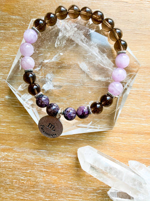SCORPIO Smoky Quartz, Kunzite, Charoite Beaded Bracelet || Reiki Infused