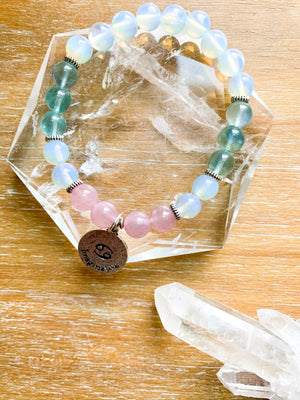 CANCER Opalite, Fluorite, Rose Quartz Beaded Bracelet || Reiki Infused