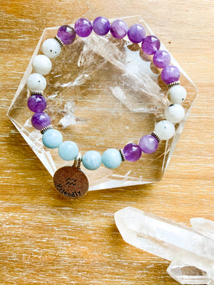 AQUARIUS Amethyst, Moonstone, Aquamarine Beaded Bracelet || Reiki Infused