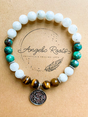 GEMINI Moonstone, Chrysocolla, Tiger Eye Beaded Bracelet || Reiki Infused