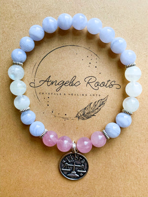LIBRA Blue Lace Agate, Moonstone, Rose Quartz Beaded Bracelet || Reiki Infused