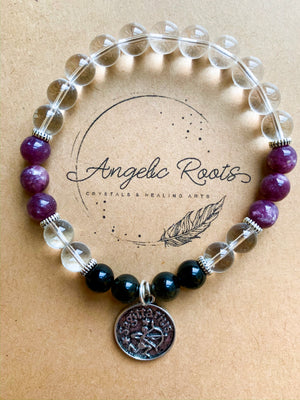 SAGITTARIUS Clear Quartz, Lepidolite, Golden Sheen Obsidian Beaded Bracelet || Reiki Infused