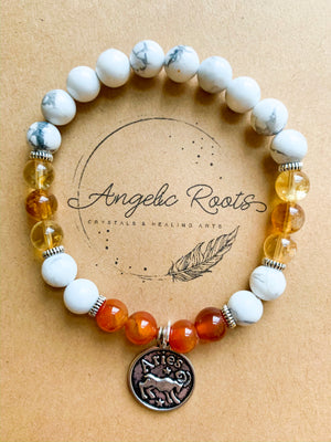 ARIES Howlite, Citrine, Carnelian Beaded Bracelet || Reiki Infused