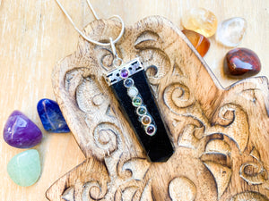 Crystal Point Necklace || Seven Chakra - Black Onyx