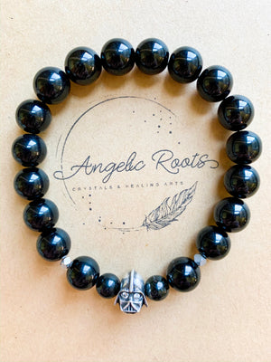 Tourmaline Darth Vader Beaded Bracelet || Reiki Infused