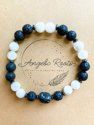 Lava & Moonstone Beaded Bracelet || Reiki Infused
