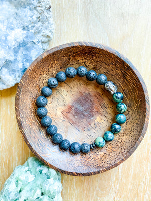 Lava and Kambaba Jasper Beaded Bracelet || Reiki Infused