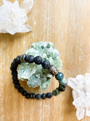 Lava, Kambaba Jasper and Hematite Beaded Bracelet || Reiki Infused
