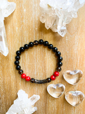 Red Coral, Onyx and Smoky Quartz Beaded Bracelet || Reiki Infused