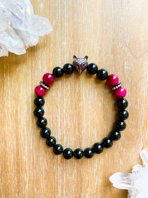 Magenta Tiger Eye and Onyx Beaded Bracelet || Reiki Infused
