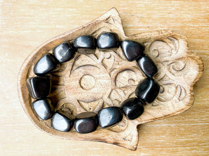 Shungite Nugget Bracelet || Reiki Infused Larger Beads