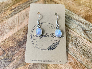 Moonstone Oval Drop Earrings - Small